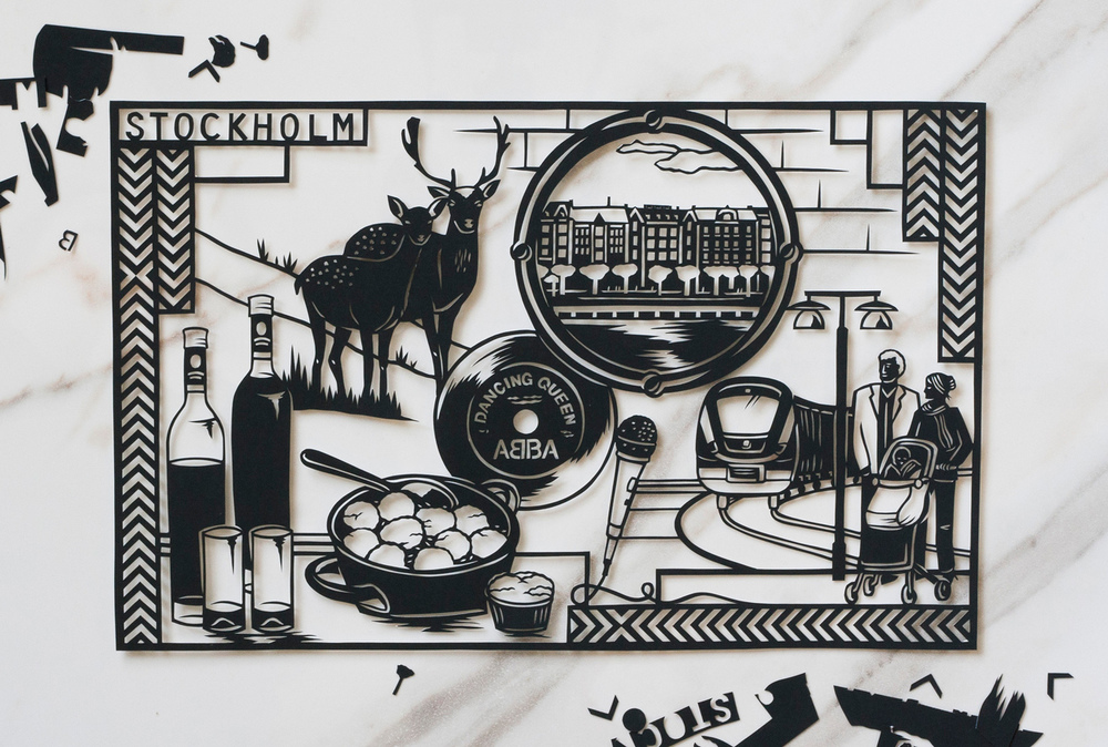 black papercut illustration about Stockholm on marble