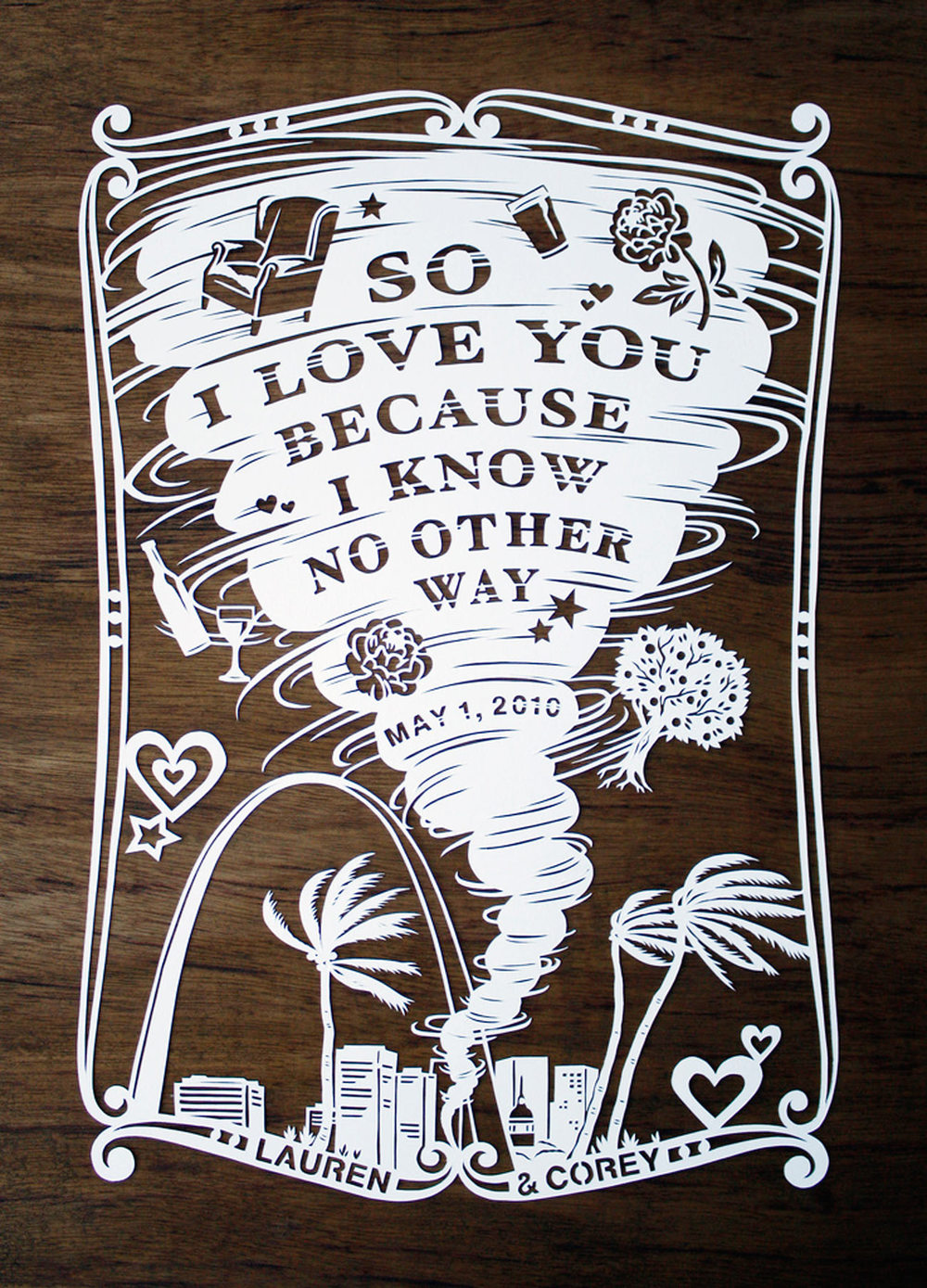 papercut illustration of tornado love in st louis