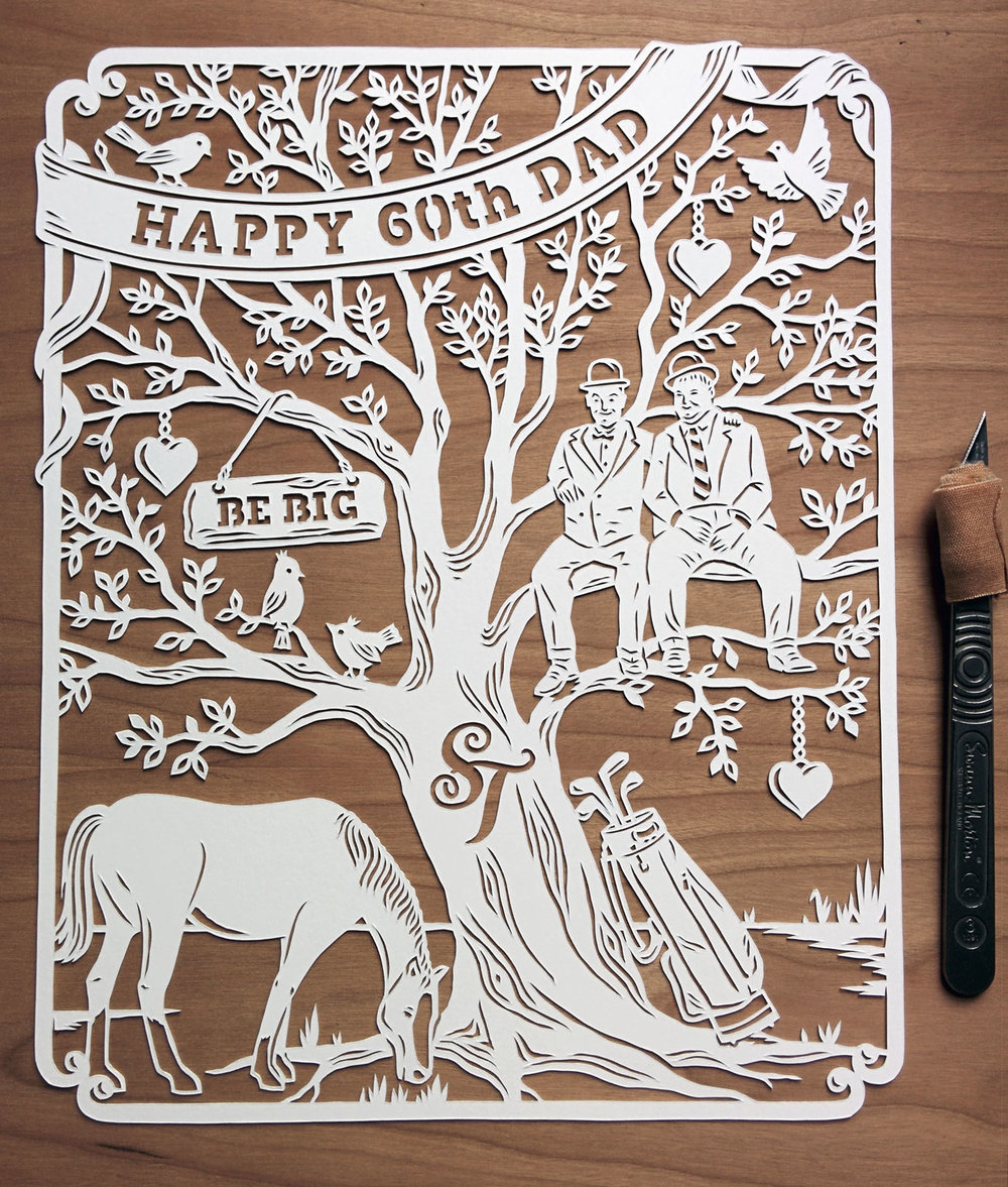 papercut illustration with tree, horse, laurel and hardy for 60th birthday