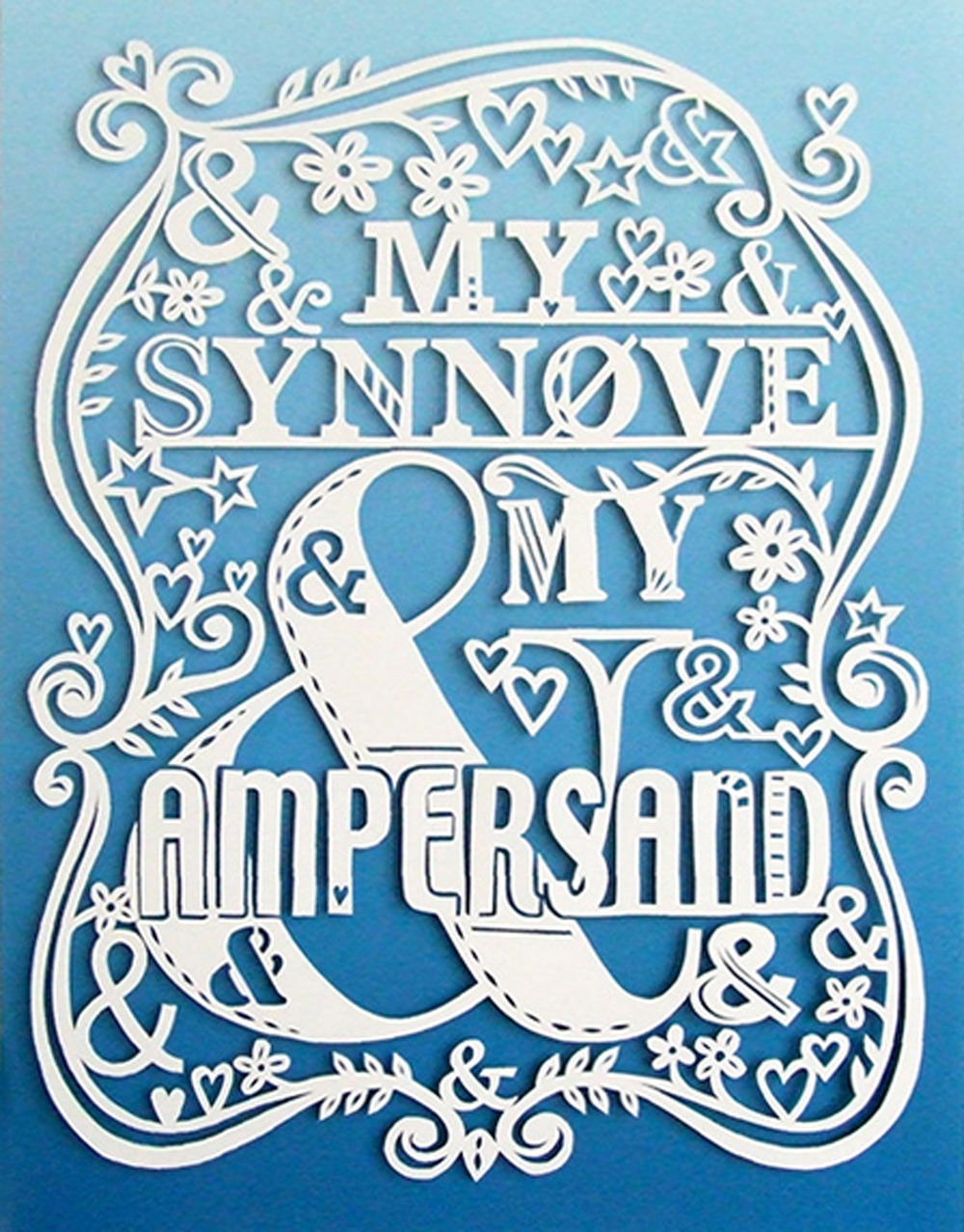 romantic papercut illustration on blue with amperdsand