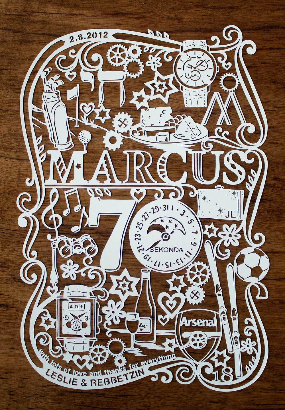 papercut illustration for 70th birthday with watch and skis