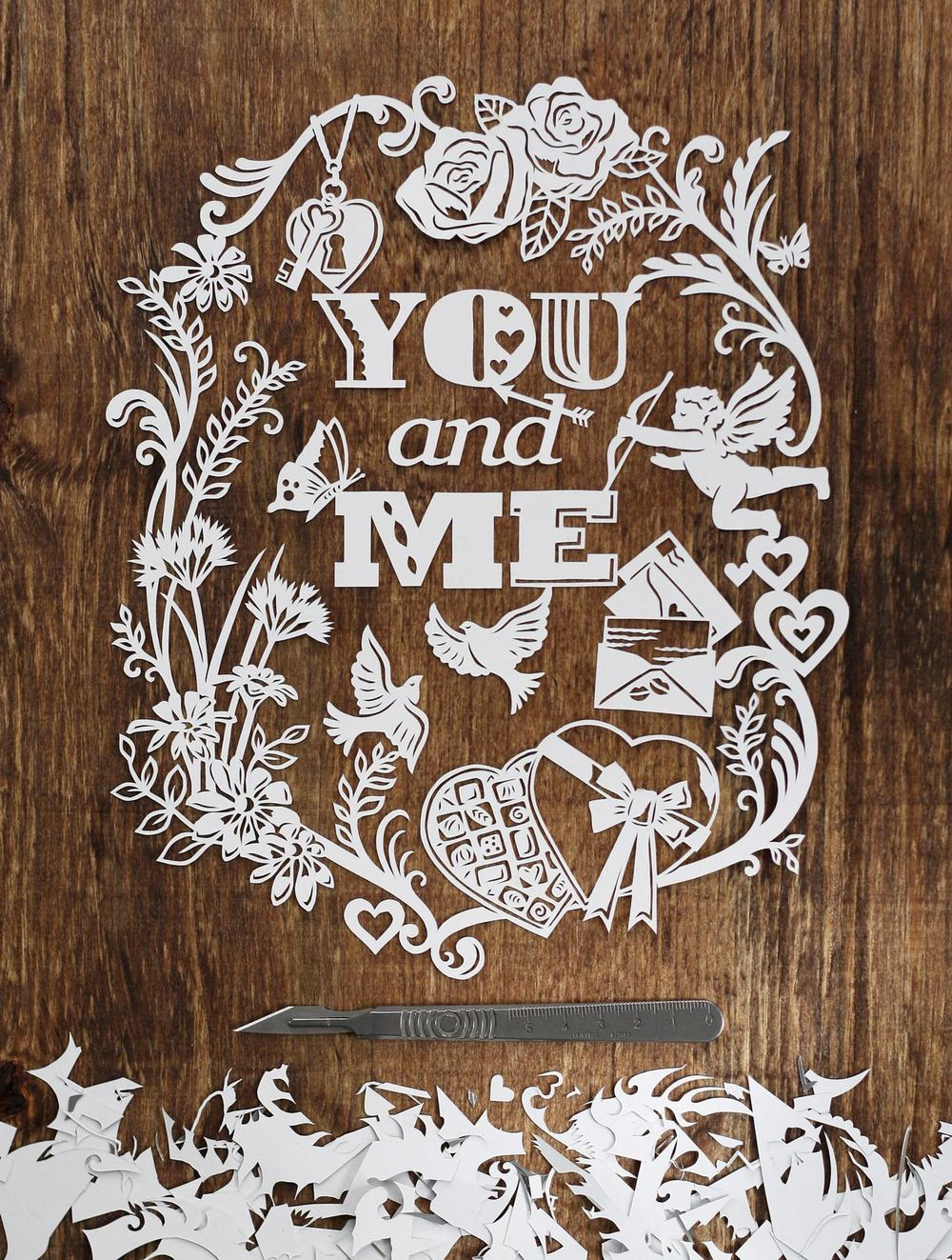 you and me romatic love papercut illustration with cupid