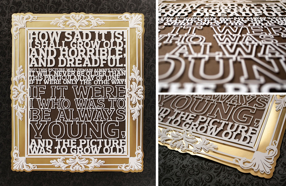 text papercut illustration based on the picture of dorian gray in brown and gold