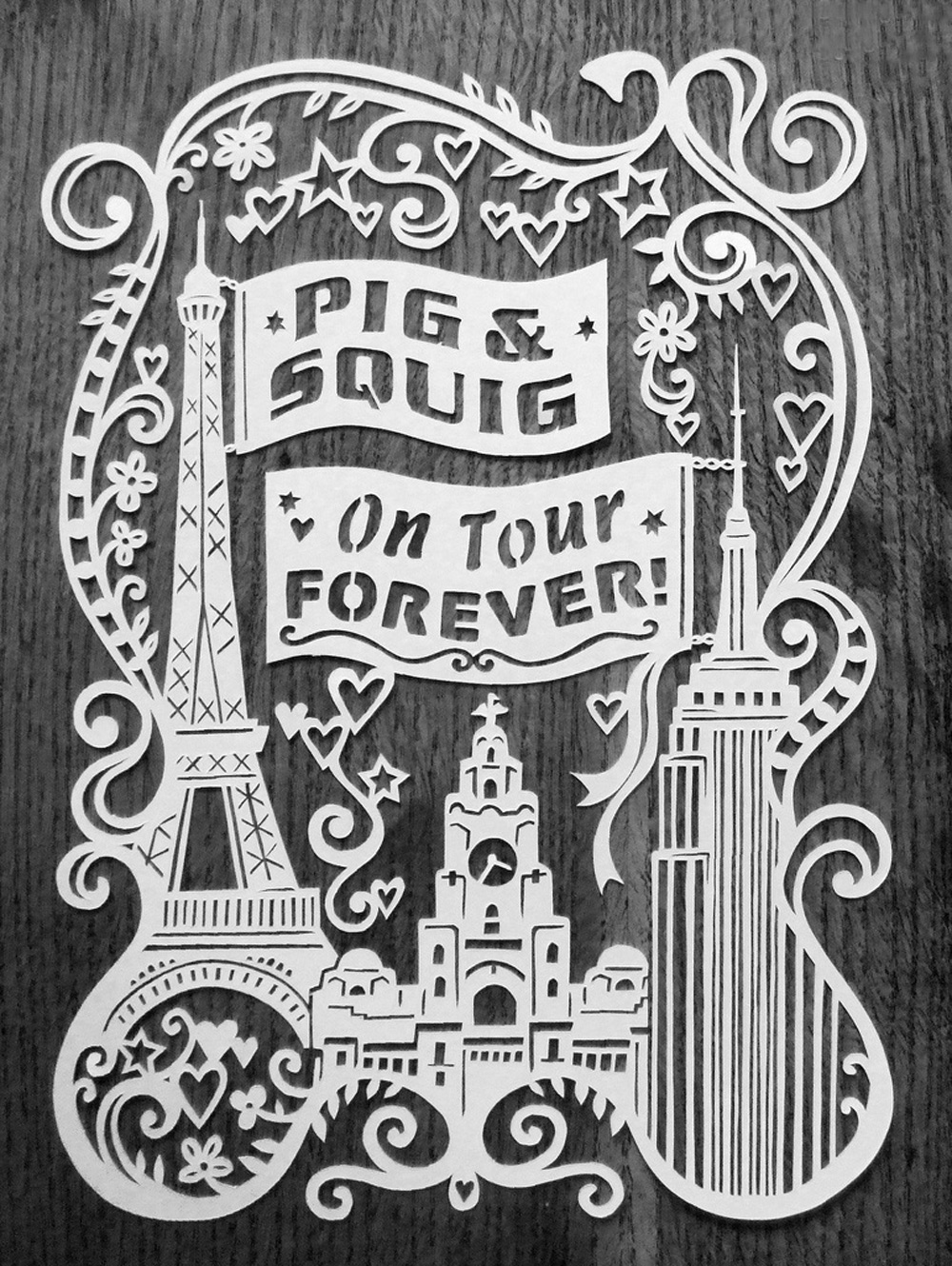 papercut illustration Liverpool Paris and New York.