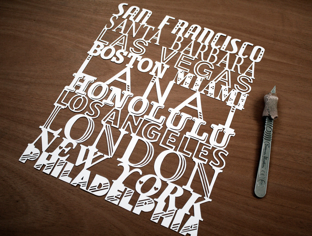 papercut illustration of cities inc san francisco and boston