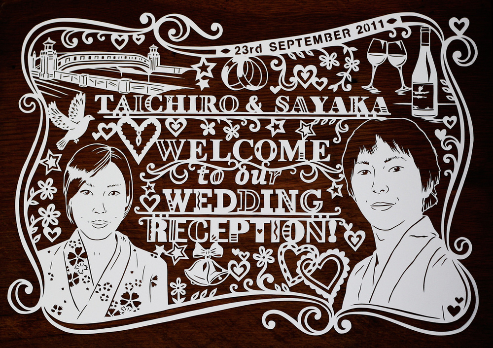 papercut illustration welcome to our wedding poster