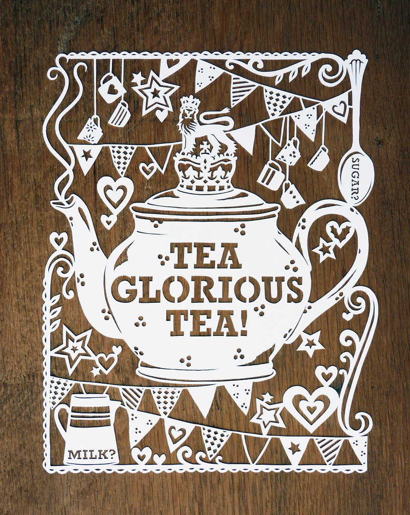 Tea papercut illustration with teapot and bunting