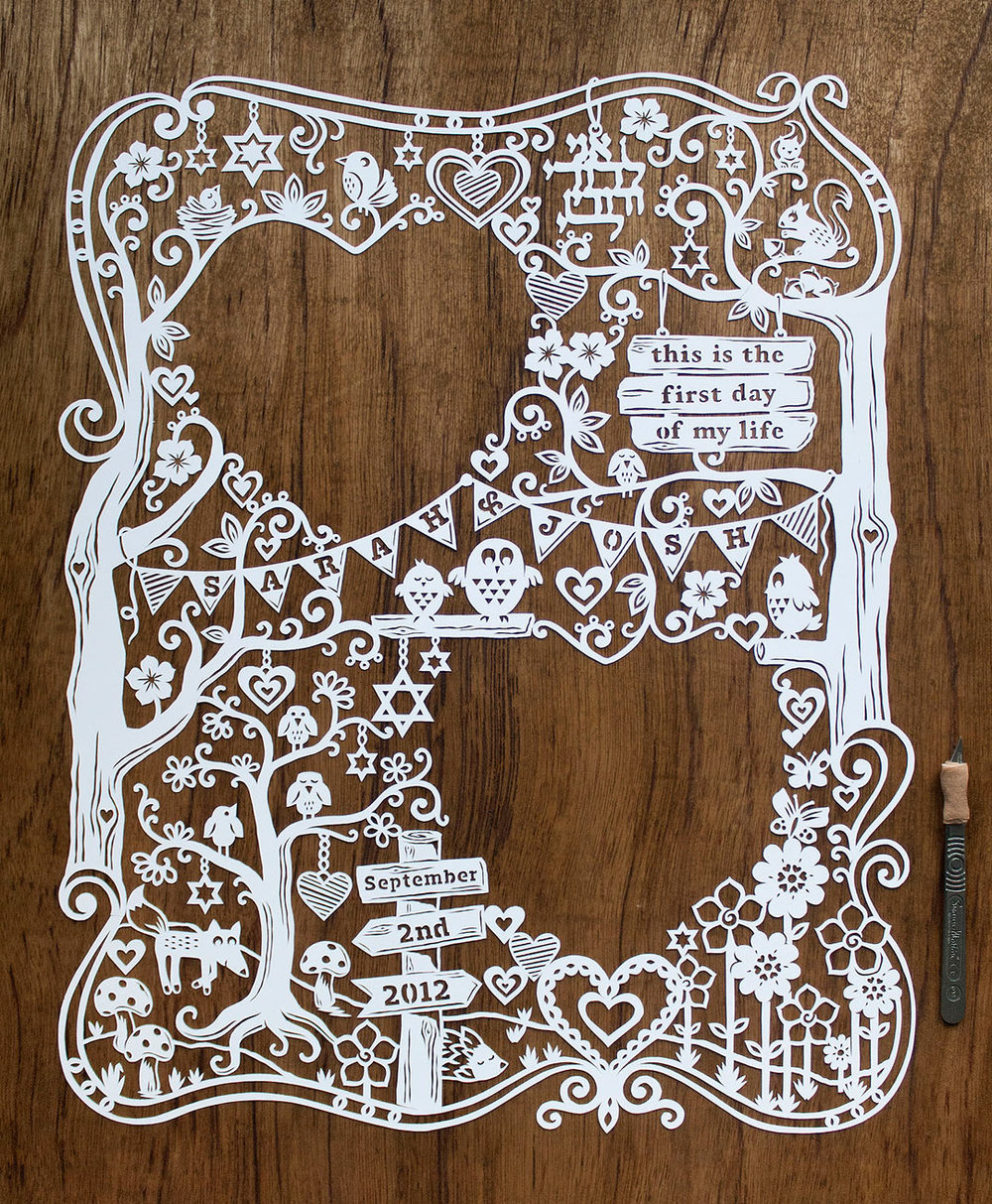 large modern papercut ketubah handmade and custom, with hearts