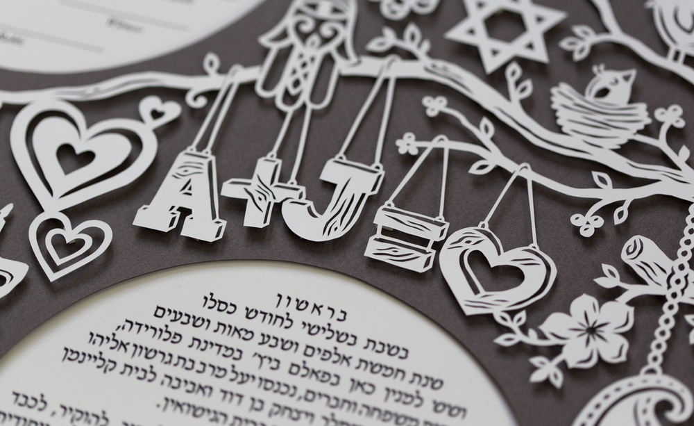 closeup of large modern papercut ketubah handmade and custom