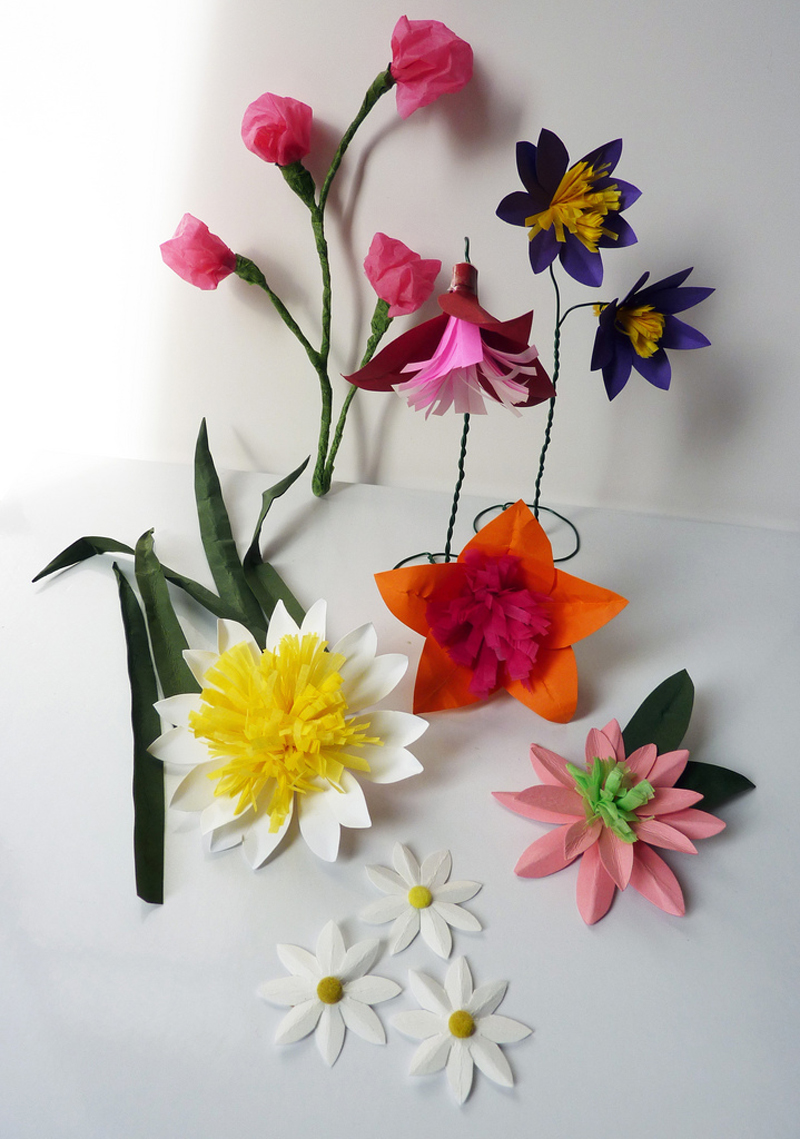 handmade colorful paper flowers