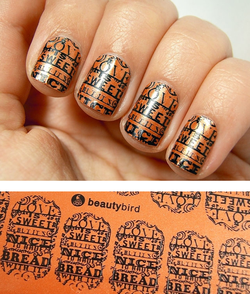 orange papercut nail wraps