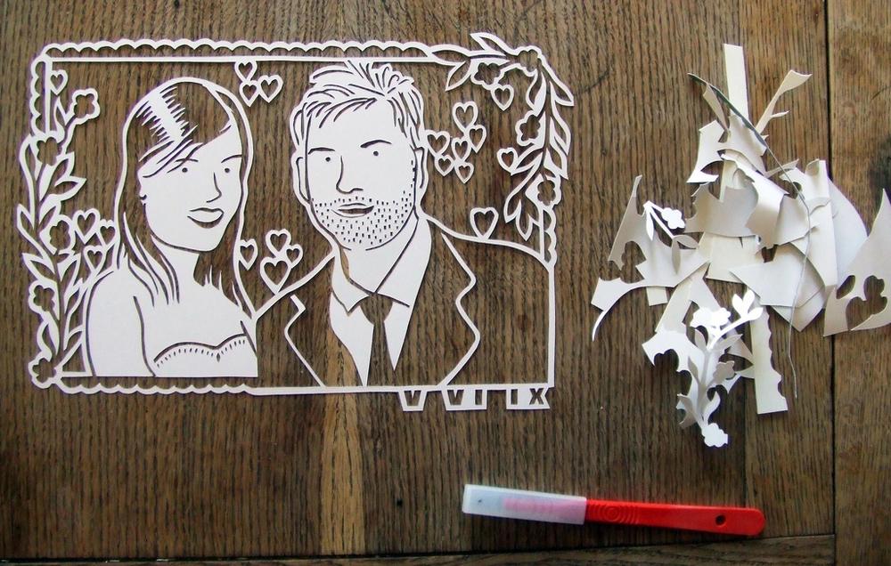 papercut-illustration-wedding-portrait