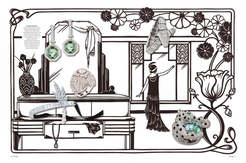 papercut-illustration-artdeco-diamonds-flowers