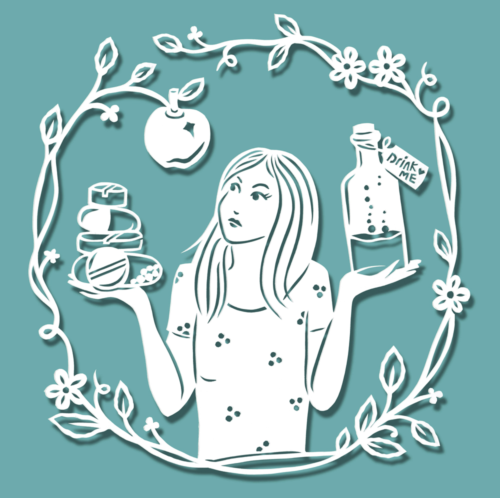 papercut-illustration-girl-apple-leaves