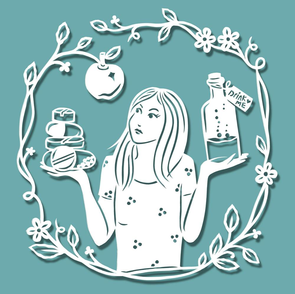papercut-illustration-girl-apple-leaves