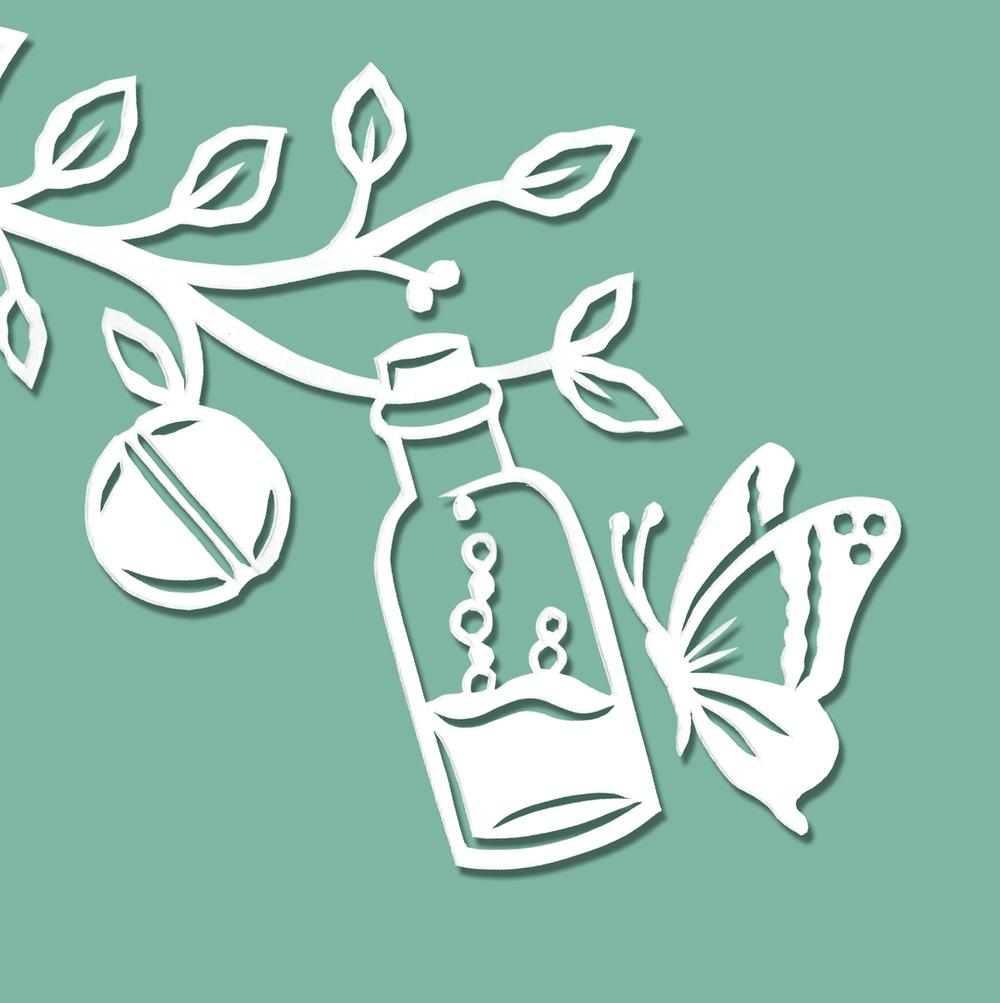 papercut-illustration-bottle-butterfly-leaves