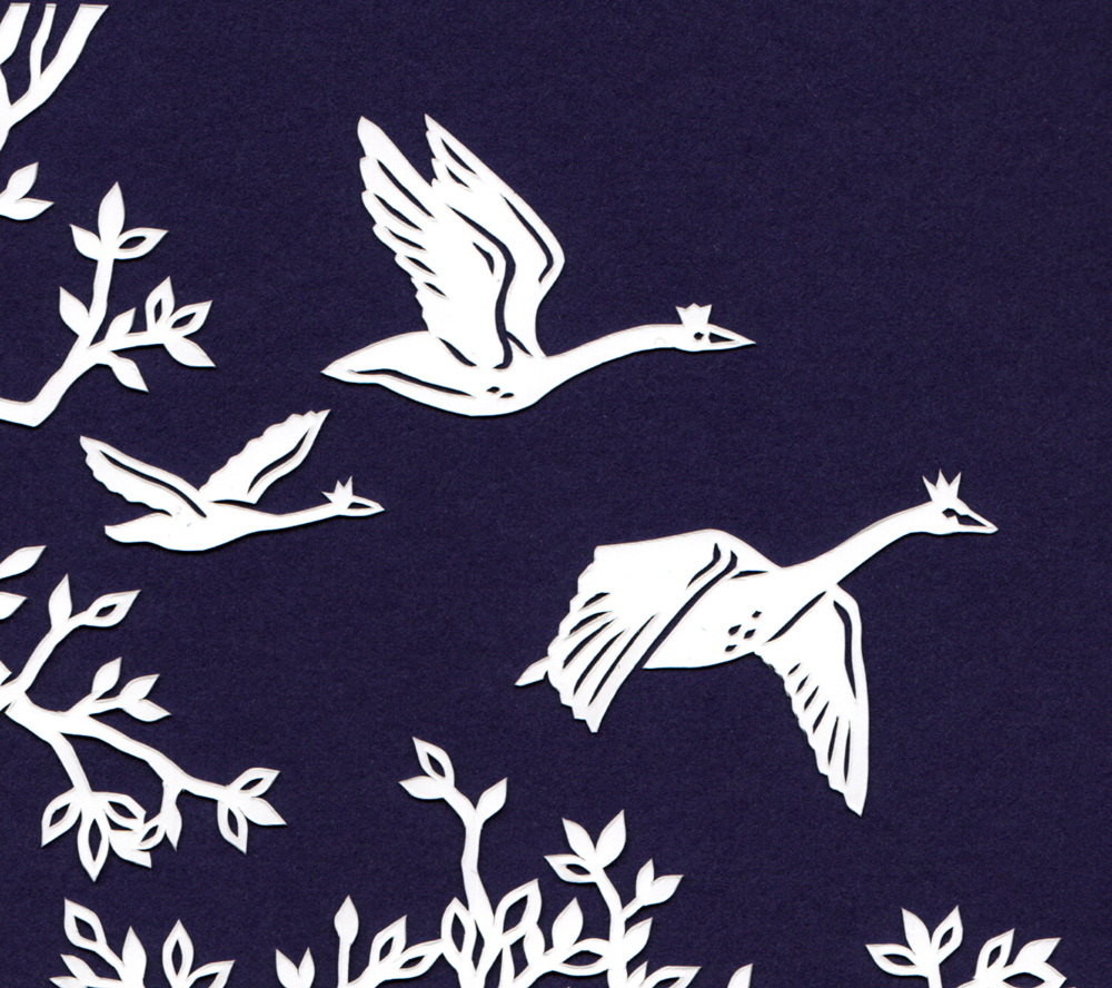 julene-harrison-papercut-illustration-swans