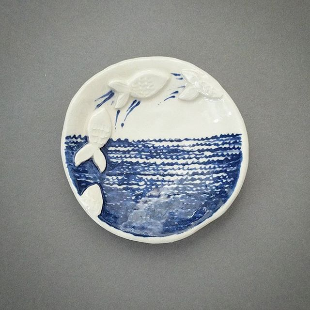 Fly fishies! . . . #pottery #ceramics #lowfire #fish #blue #fishing #ceramicart #instapot