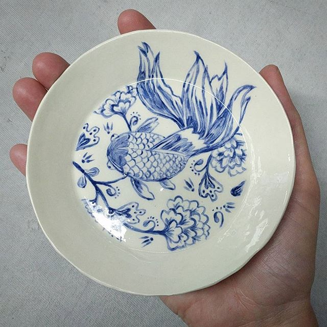 Little hand painted dish. . . . #pottery #ceramics #fish #handpainted #instapot #ceramicart #lowfire