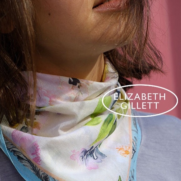 Elizabeth GILLETT limited edition watercolor Print Scarves and Kimonos including  One of A Kind styles.