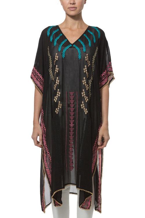 b0c9cc09657b Embroidered Kaftan black — Elizabeth Gillett