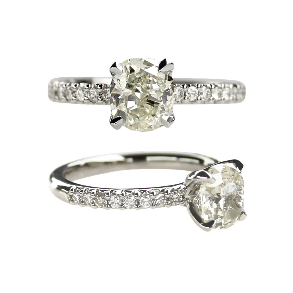 1.5ct Old Mine Cut Diamond Custom Engagement Ring in Recycled Platinum with Pave