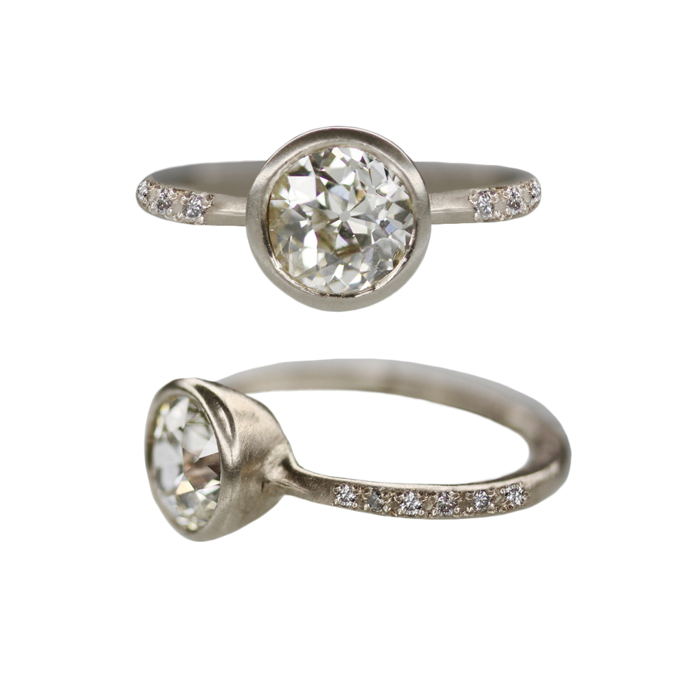 Old European Cut Diamond Custom Engagement Ring in Recycled Palladium White Gold (aka Grey Gold) with Pave