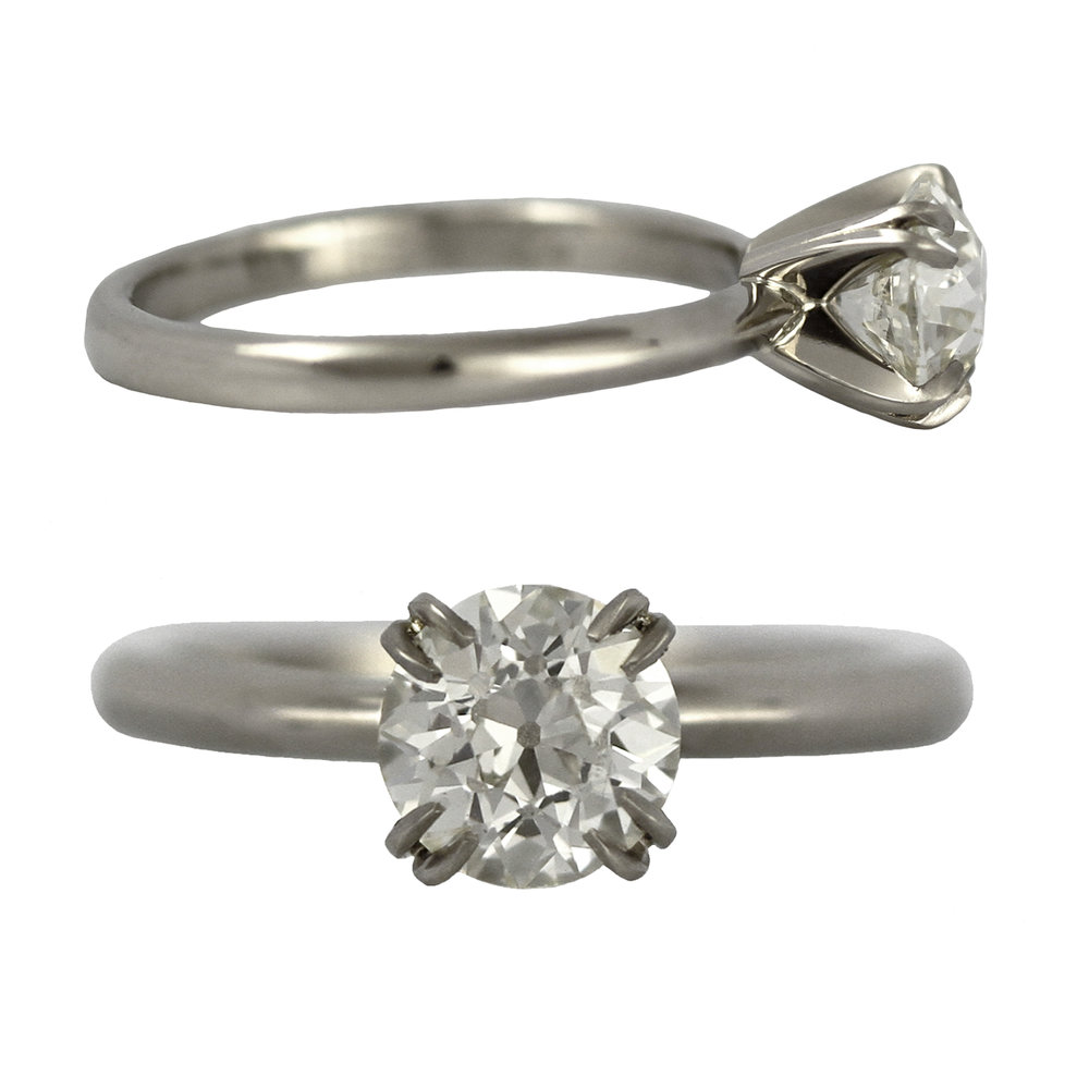 Custom 14K White Gold Split Prong Diamond Solitaire Engagement Ring