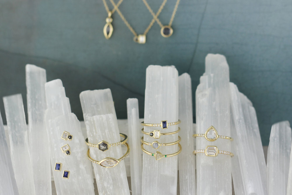 Rosedale | 14K | Diamond + Sapphire + Emerald | $315-$3948