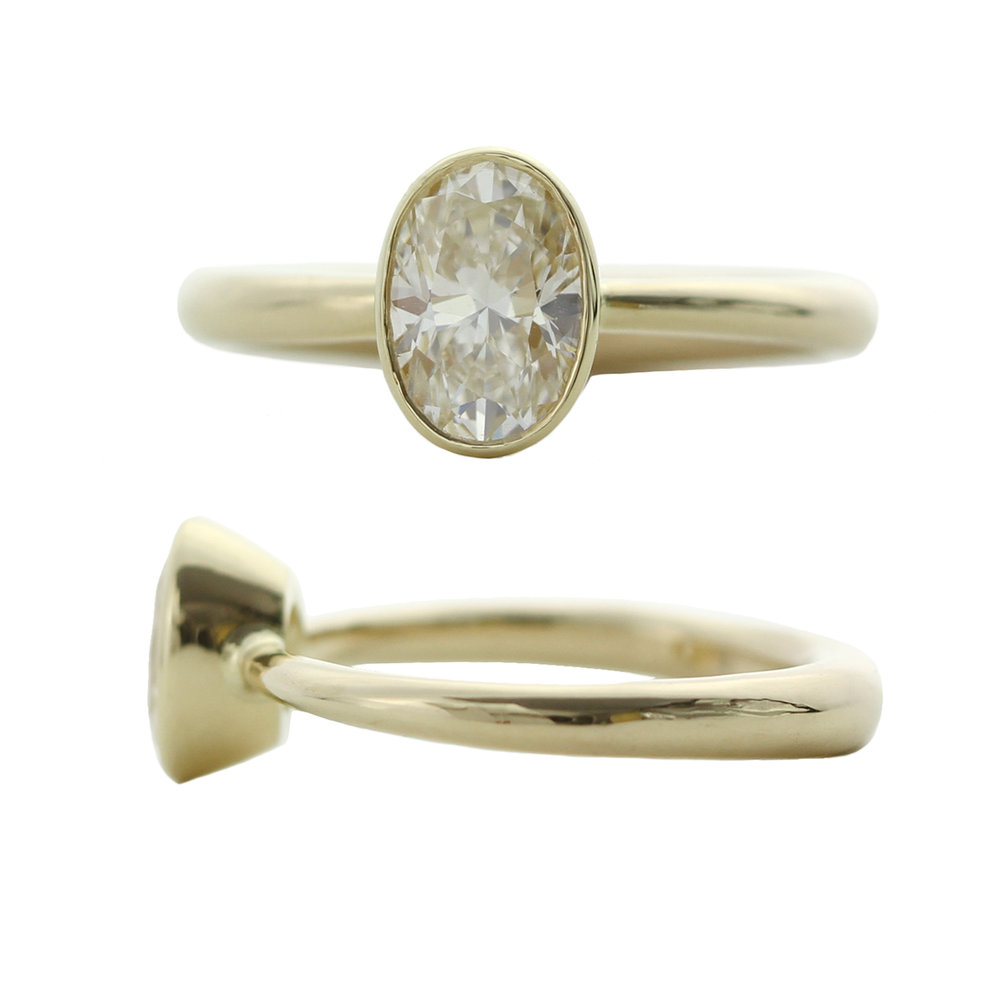 Sophie Hughes Custom 14K Yellow Gold Oval Diamond Bezel Solitaire Tapered Band Engagement Ring