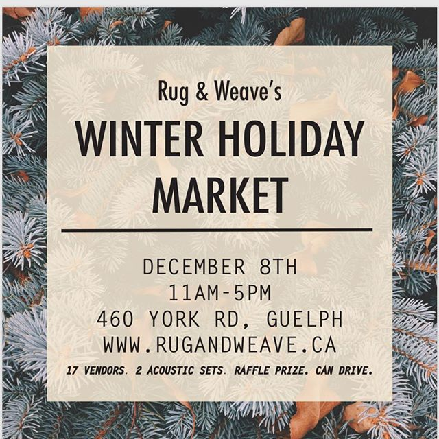 🚨LISTEN UP FOLKS 🚨Night market is in hibernation but sticking its head out of its cozy blanket fort to tell you about a market happening @rugandweave THIS SATURDAY from 11-5pm 🚨🚨 It's a holiday market celebrating local makers and artisans from Guelph and the surrounding areas. There will be two live music sets from @Universeofannie,  @nicolettehoang and @aliyan_bain throughout the day. They will also be doing a can drive for the food bank. Admission is free & the space is accessible! Ya'll can find the event on fb and more information about the event on the @rugandweave website! Have fun pals! • • • • #guelph #downtownguelph #rugandweave #shoplocal #supportwhatsupportsyou #diy #style #guelphont #toronto #cool