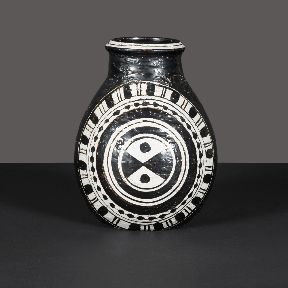 "Black and white vase by Rosenthal 11"" h.  x  9"" d. $4,800"