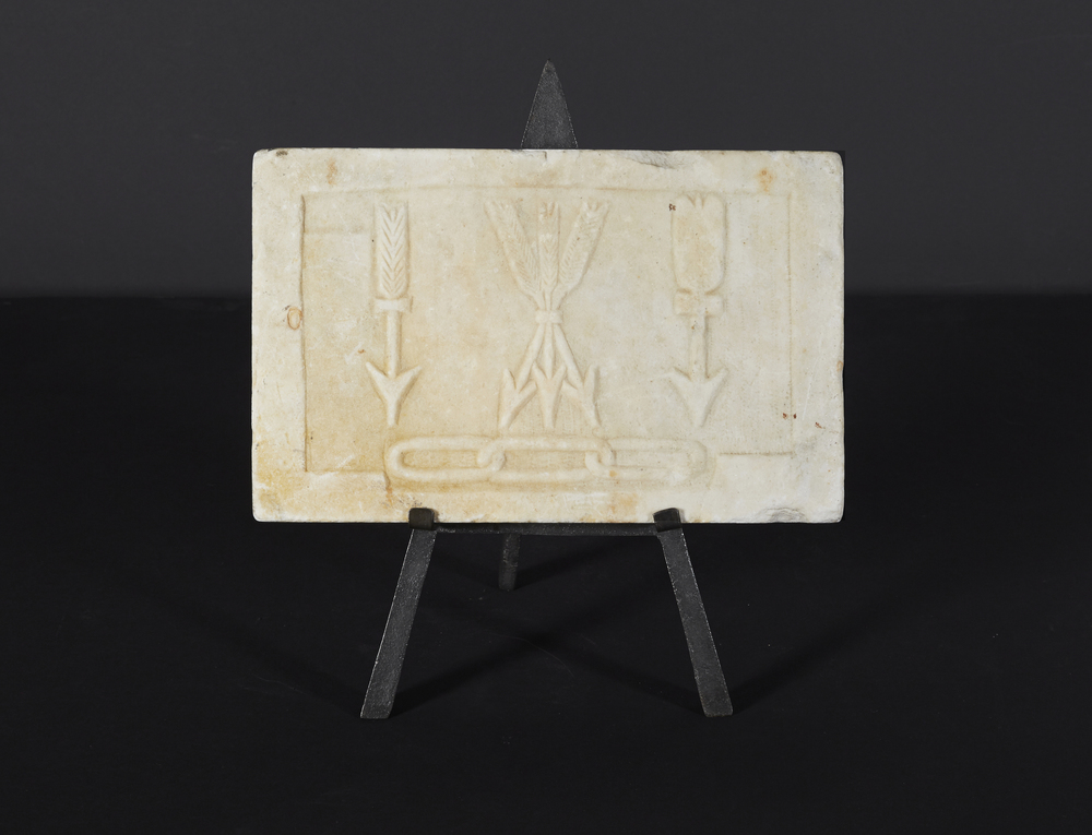 "Masonic limestone plaque on stand 12"" w. x 7"" h.  $4,800"