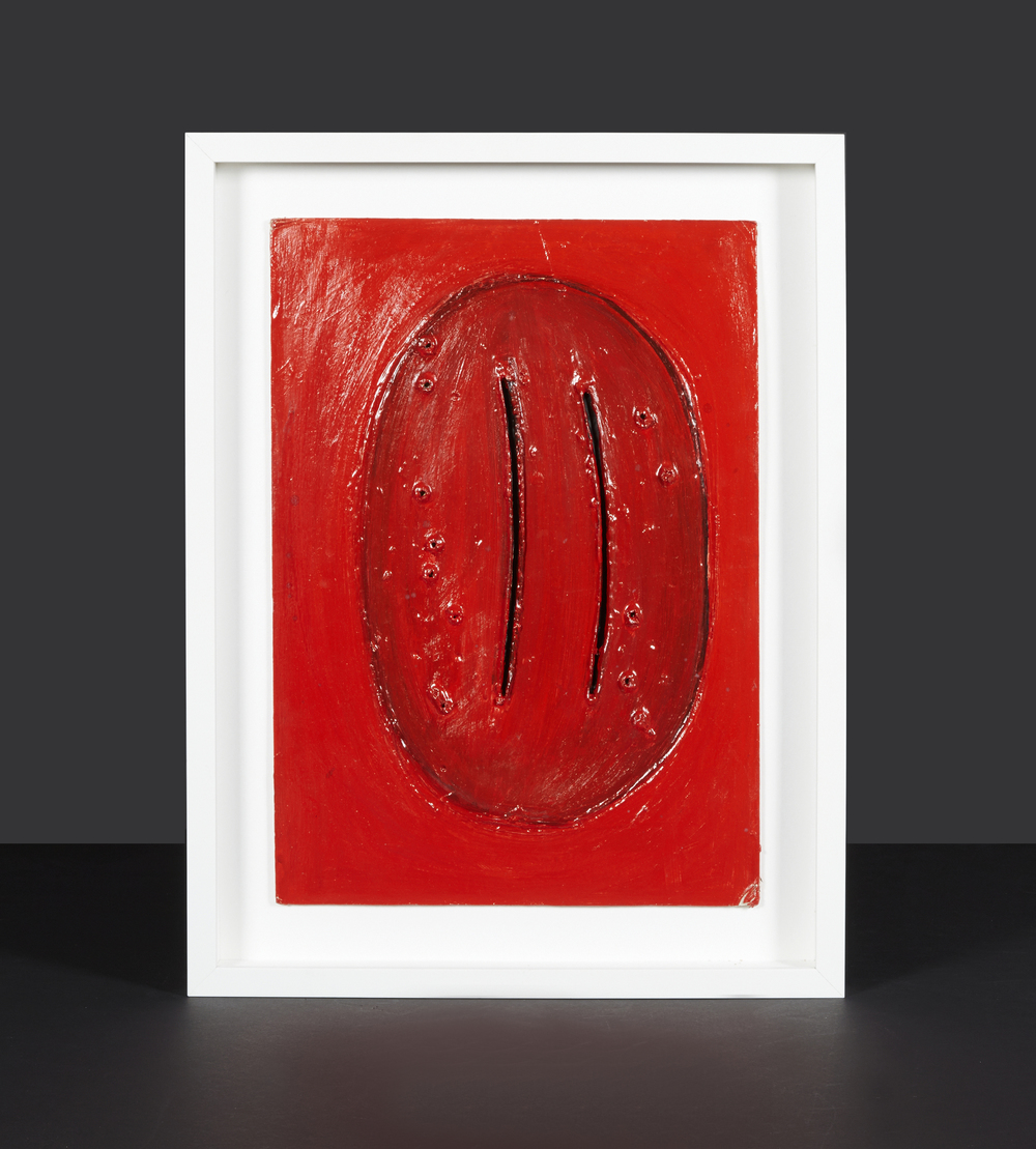 "L. Fontana Style Red Painting 20"" h.  x  16"" w.  $2,200"