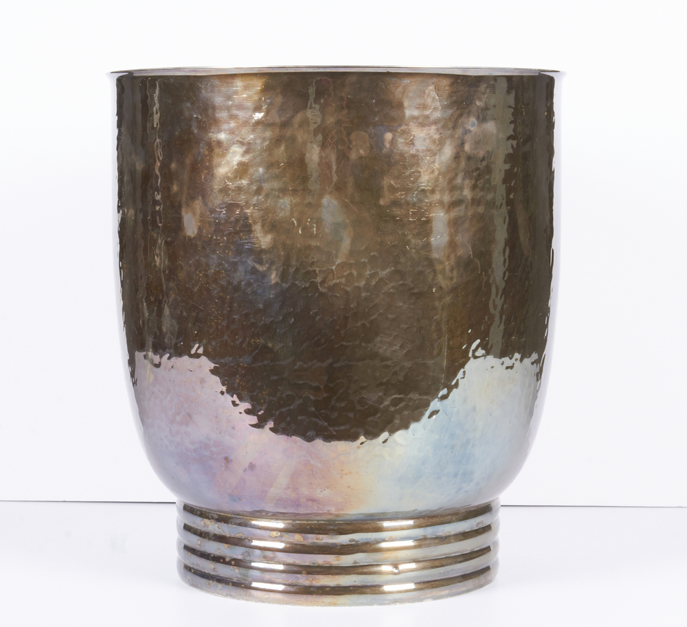 "Christian Dior silver vase 12"" h. x 11"" d. $8,900"