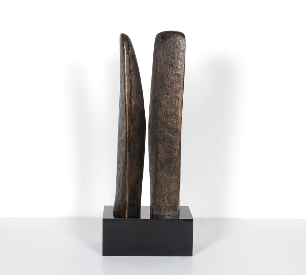 "Double bronze abstract sculpture 20"" h.  x  8""w.  x  5"" d.  $7,800"