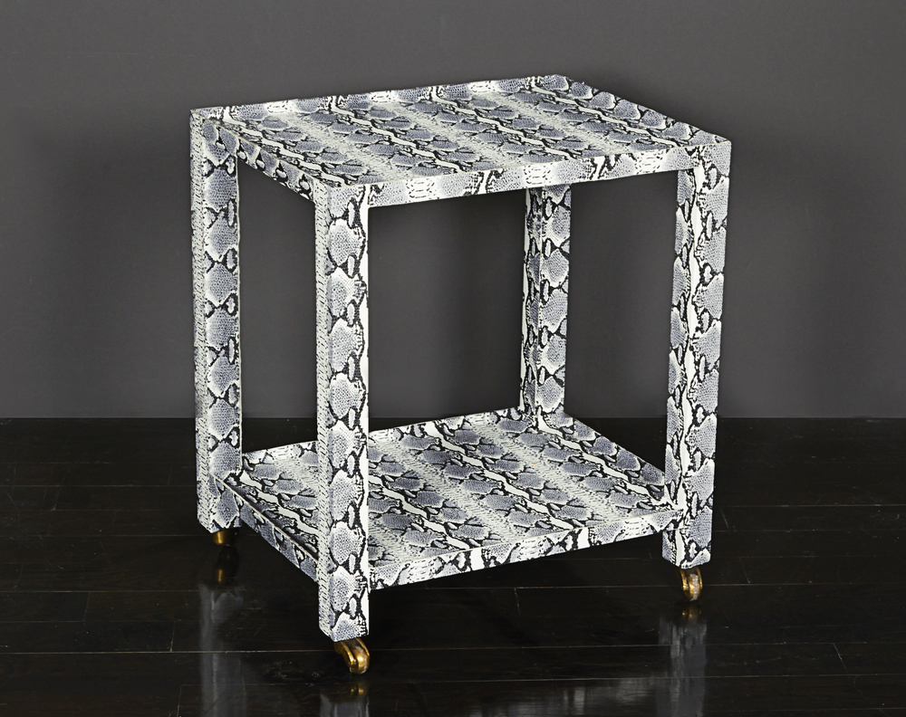 "Snakeskin side table 22"" h.  x  19"" l.  x  15"" w.  $3,600"
