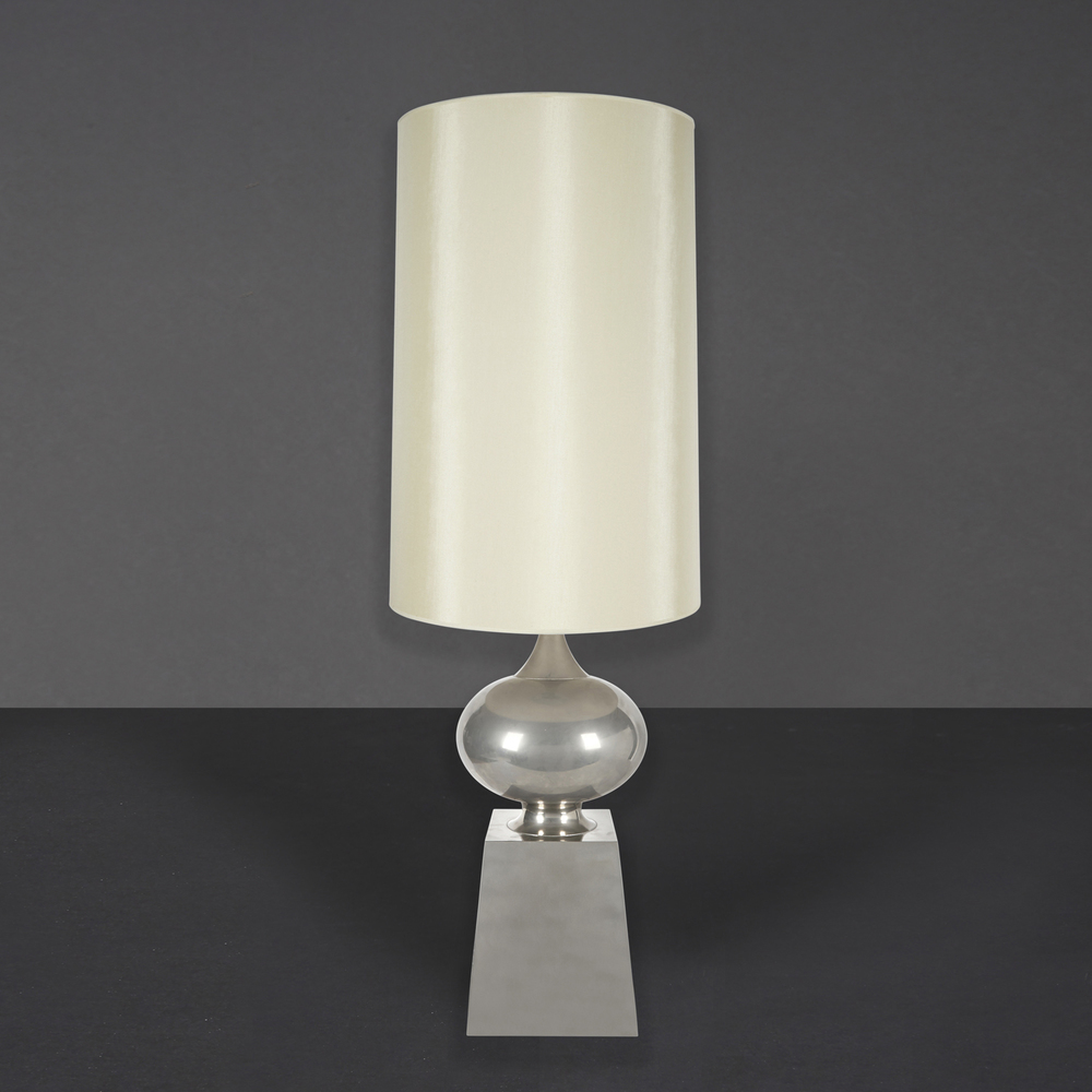"French nickel lamp 41"" h.  x  8"" w.  x  8"" d.  $4,200"