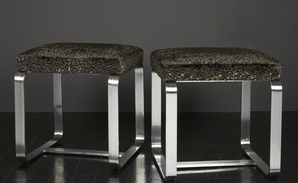 "Pair of faux fur metal stools 18"" h.  x  18"" w.  x  16"" d. $6,400"