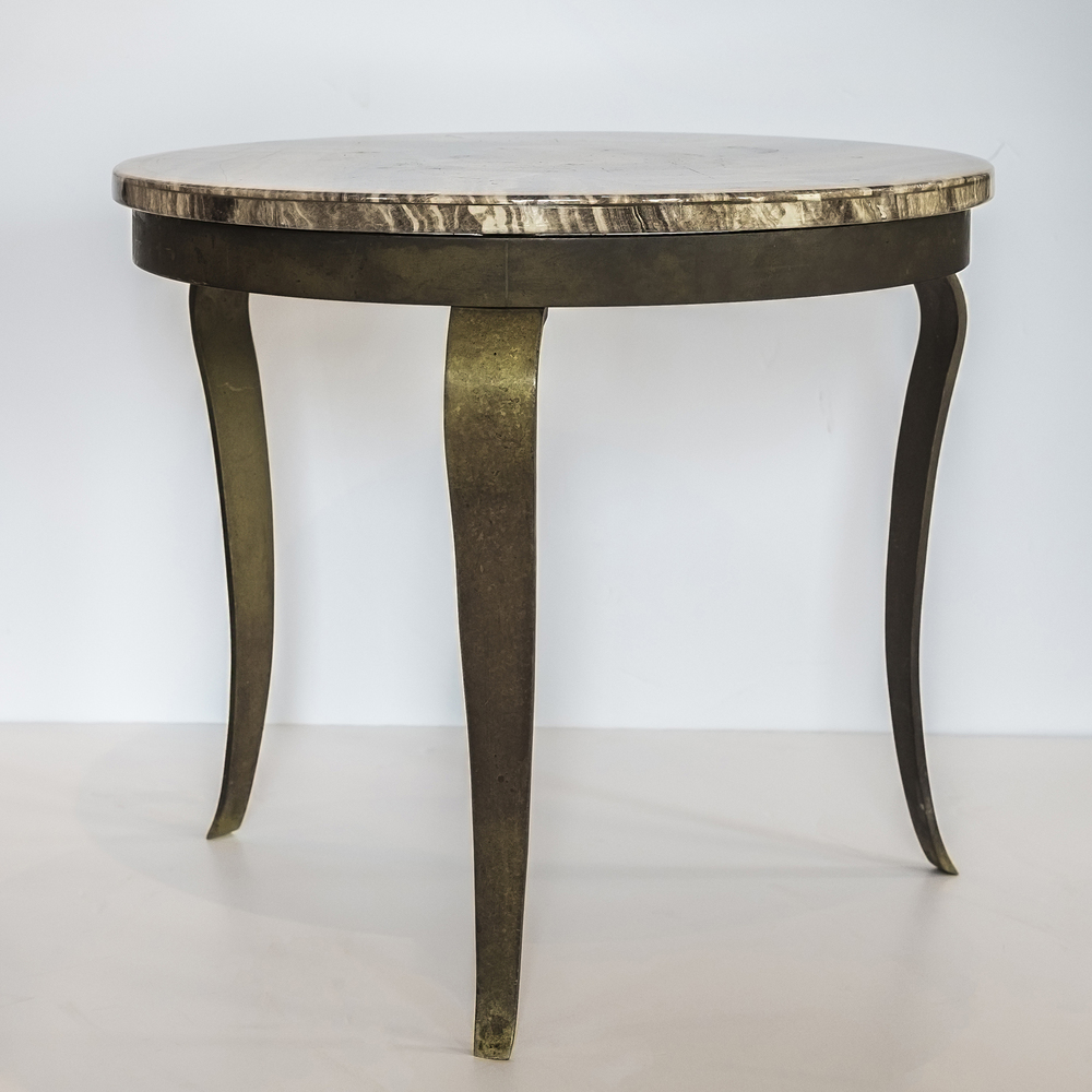 "Agate low table 18"" dia.  x  16"" h.  $2,600"