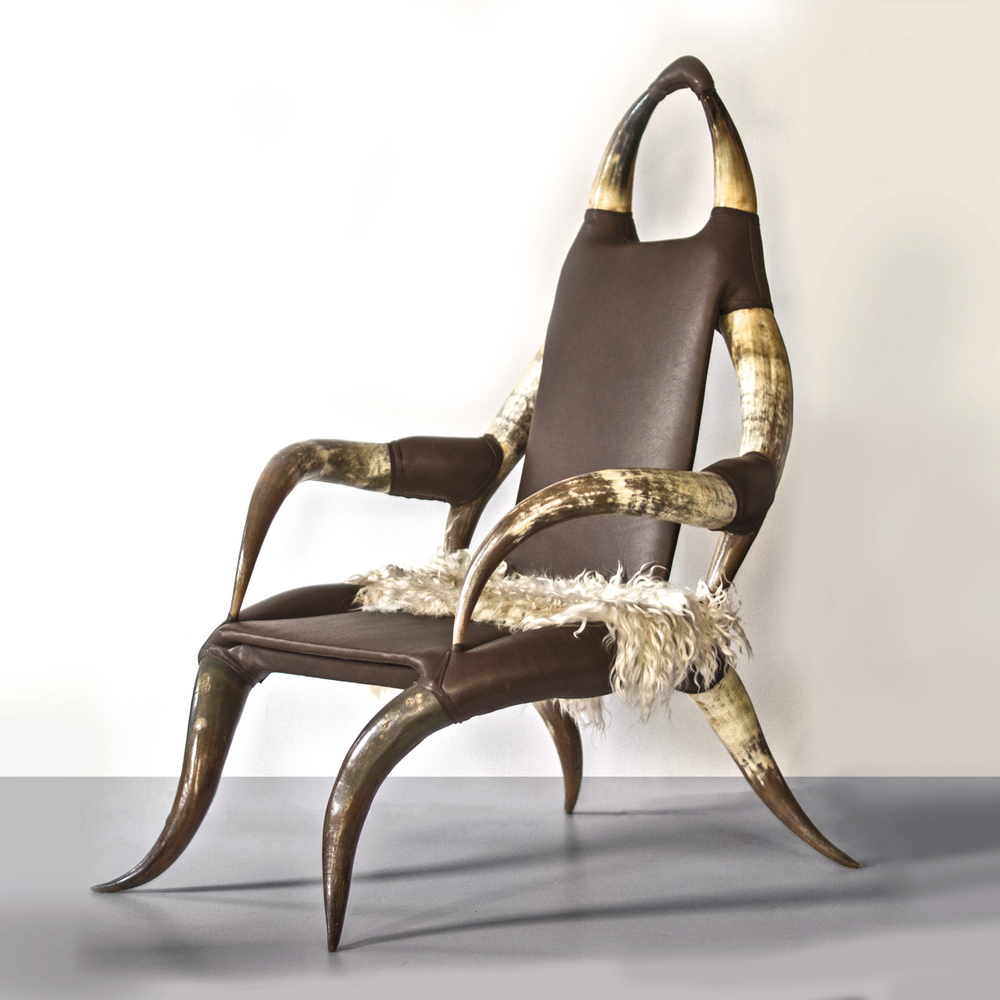 "19th century horn chair 47""h. x 33""w. x 30"" d. x 16"" seat $6,800"