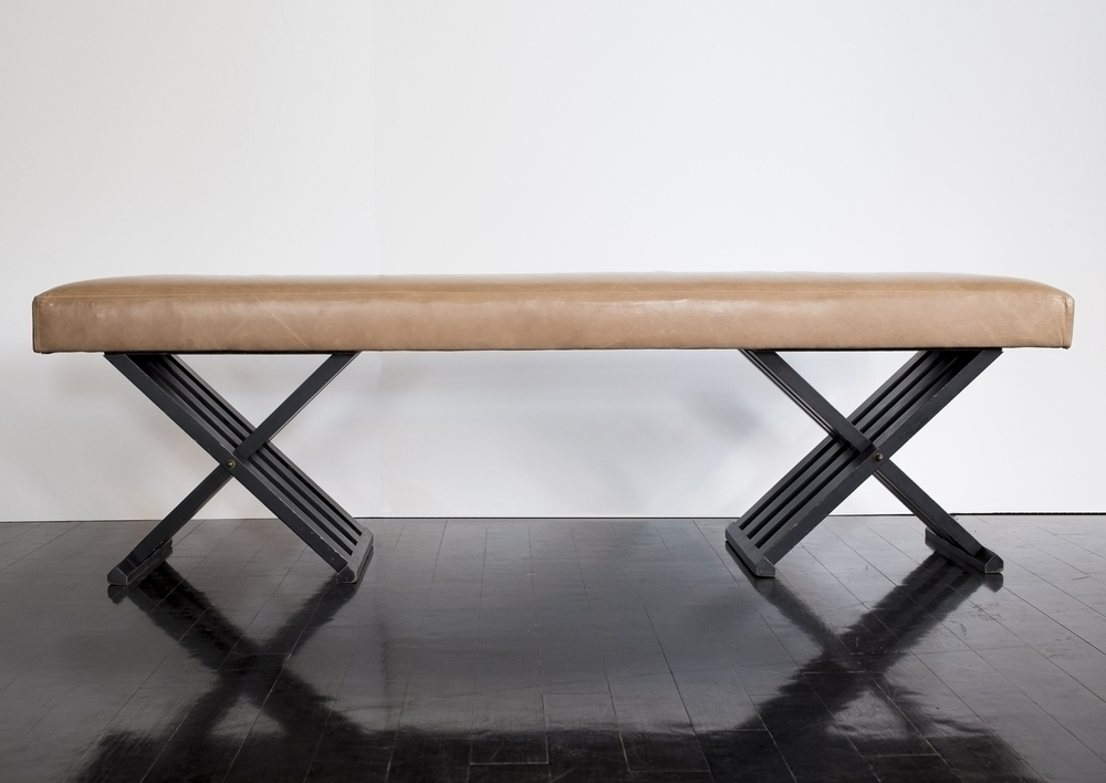 "Double X leather bench 65.5"" w.  x  19"" h.  x  9"" d. $7,600"