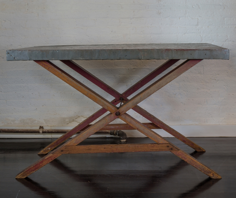 "Zinc Tresle Table 50"" w.  x  32"" h.  x  31"" d.  $7,400"