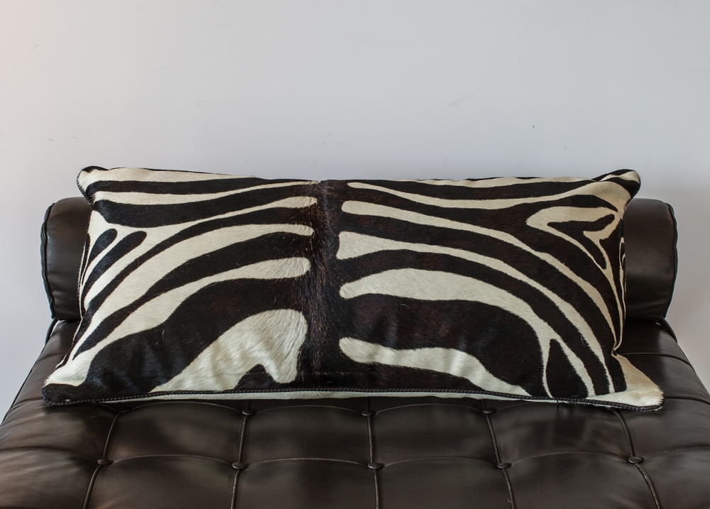 "Zebra pillow 34"" w.  x  18"" h.  $3,600"