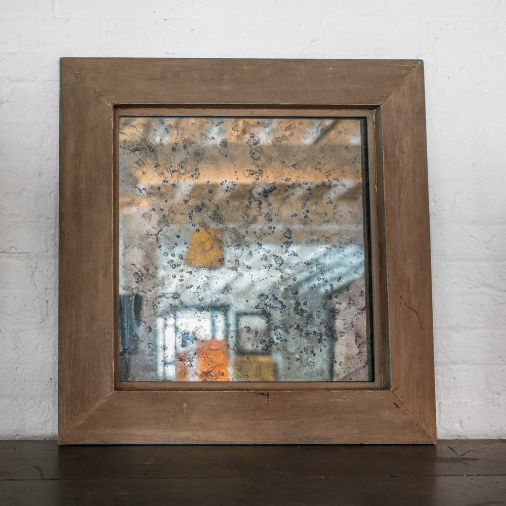 "Antique cerused oak mirror with flyspeck glass  28""d. x 29""h. x 2""d. $4,800"