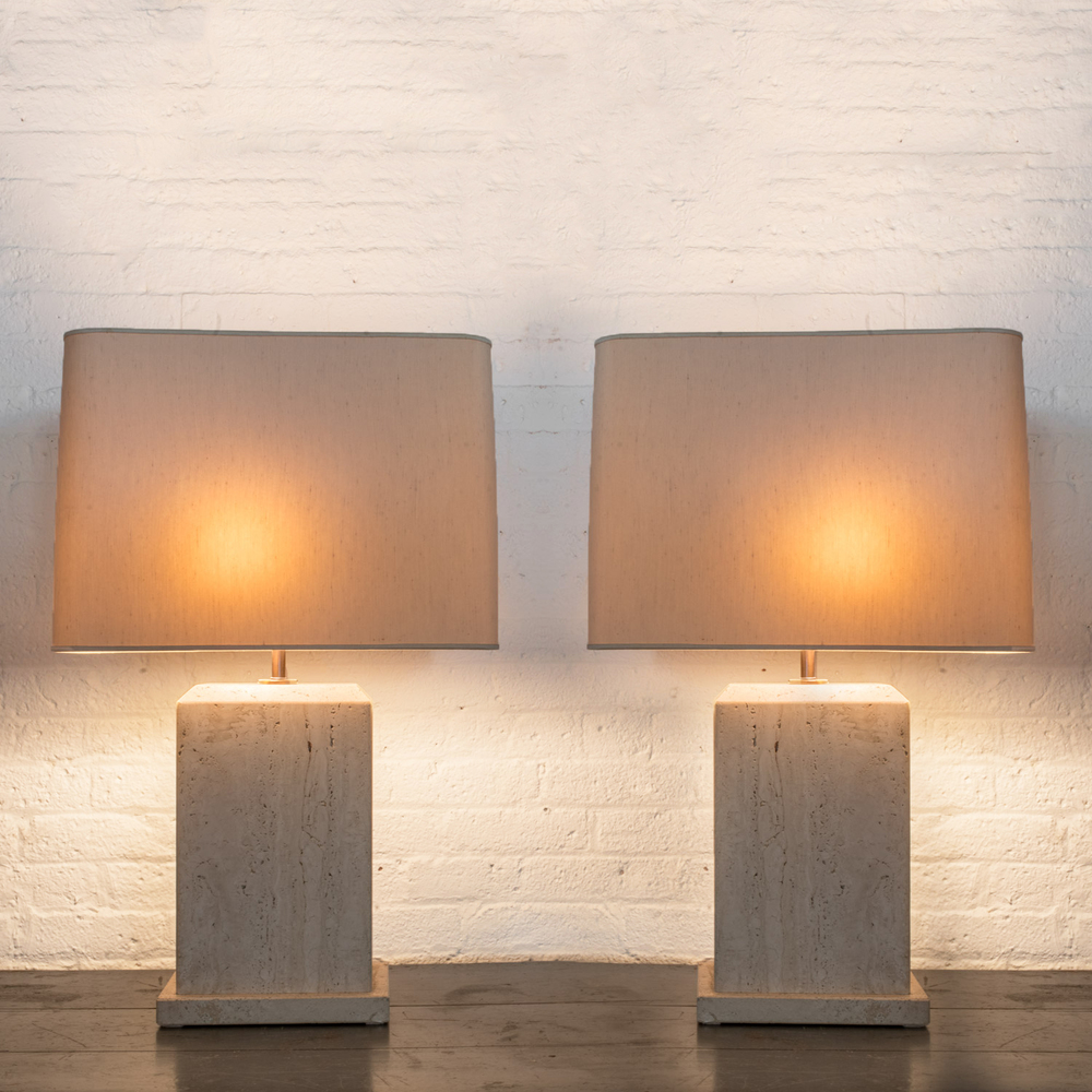 "Pair of Travertine lamps 30"" h.  x  19"" w.  x  9"" d.  $7,600"