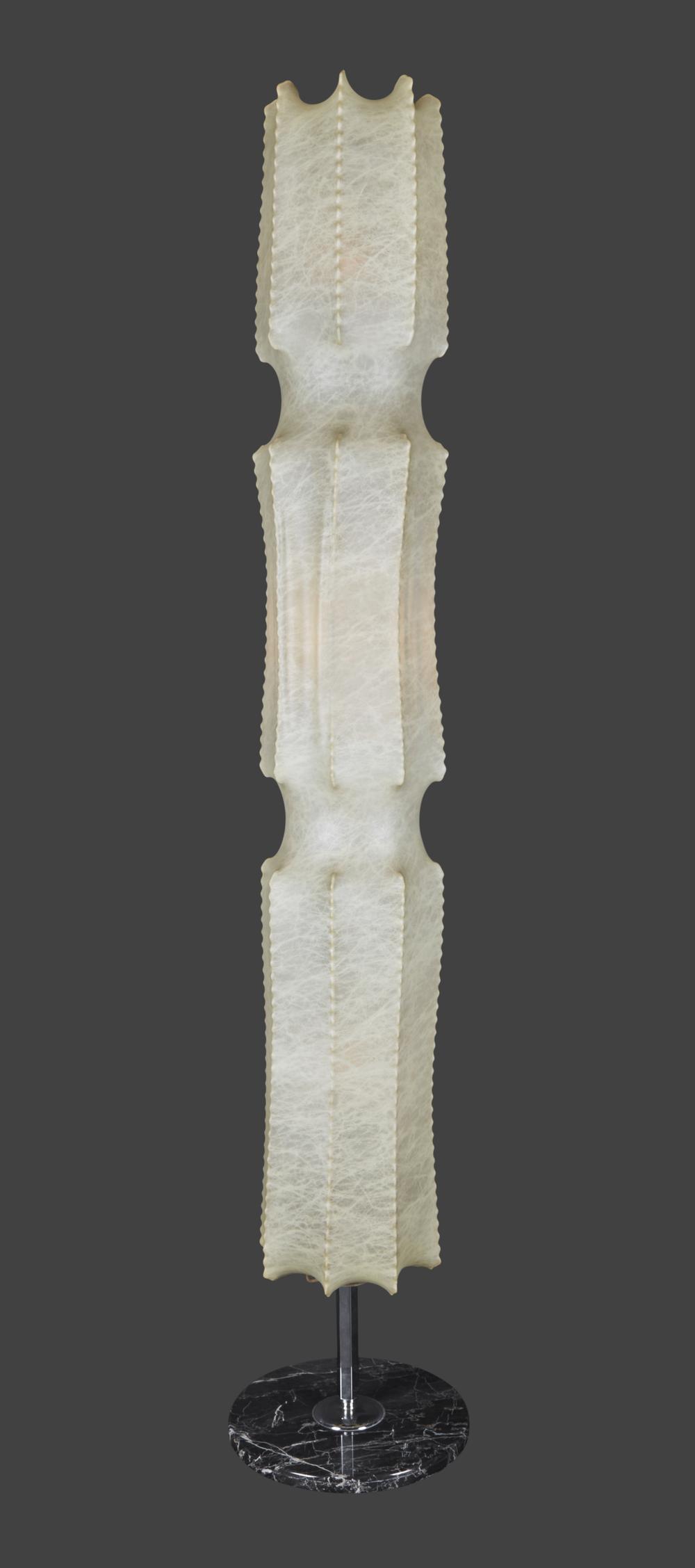 "ITALIAN GOATSKIN LAMP 61"" h. x 6"" w. $4,800"