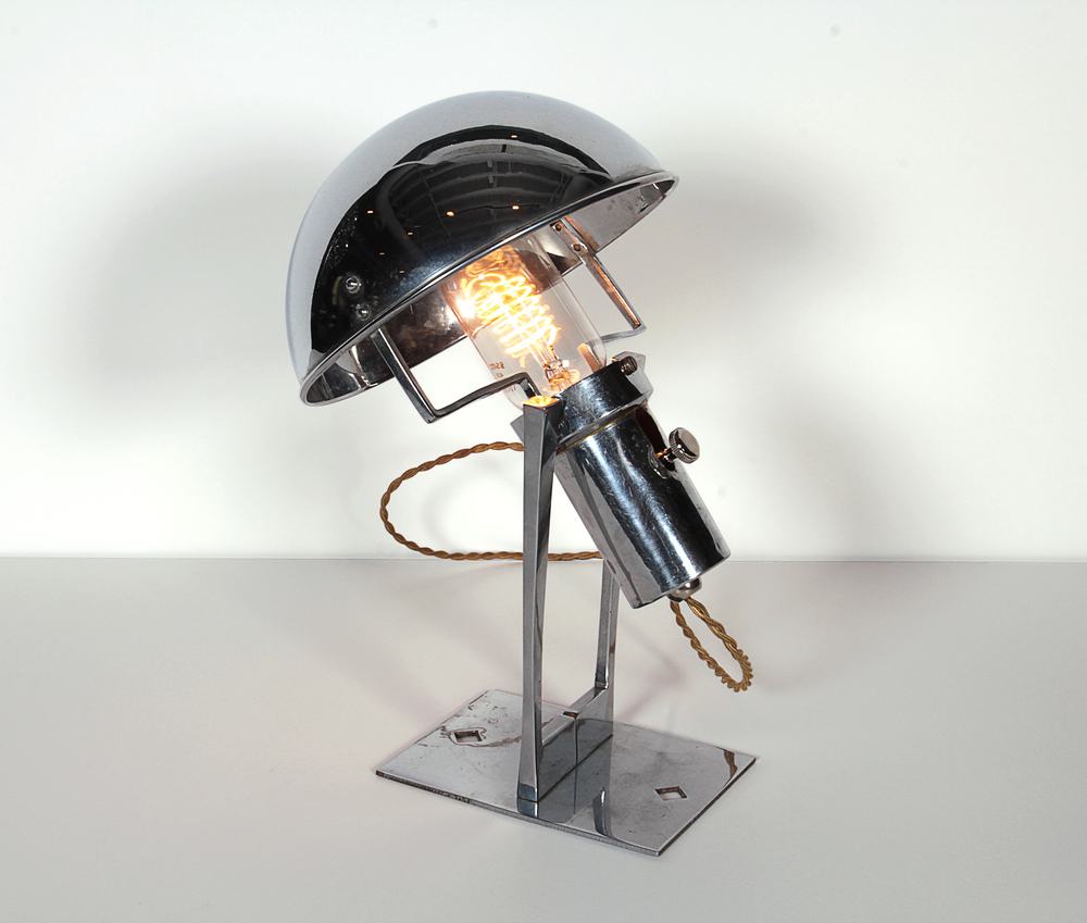 """Sucessionist nickel lamp   12"""" h.   x  8"""" w.   x  8"""" d.   $10,500"""