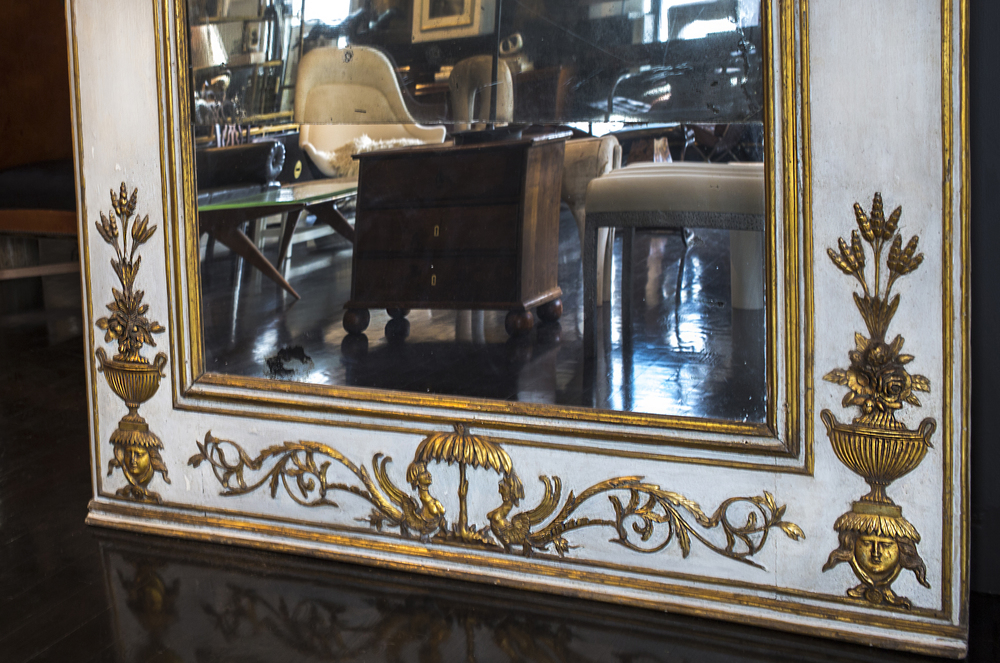 "18th century Italian tall mirror 117"" h.  x  48"" w.  $38,500"