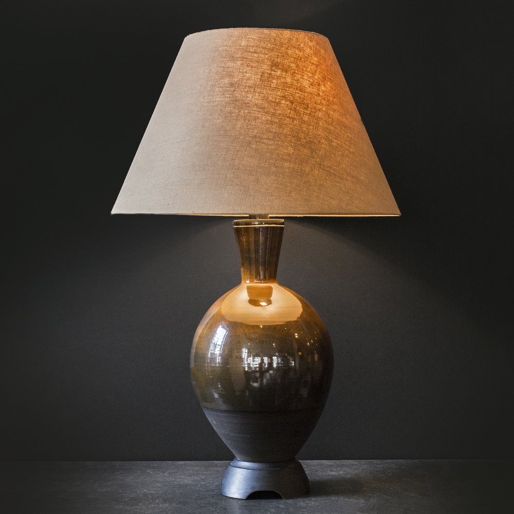 "Danish pottery lamp 38"" h.  x  16"" dia.  $5,600"